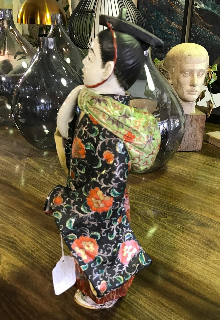 Japanese Exquisite Large Kutani Ware Porcelain Figure of Boy Late 1800s Meiji In Good Condition In Studio City, CA