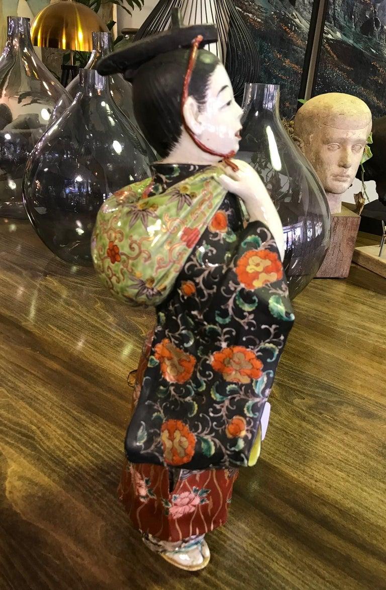 Japanese Exquisite Large Kutani Ware Porcelain Figure of Boy Late 1800s Meiji 3