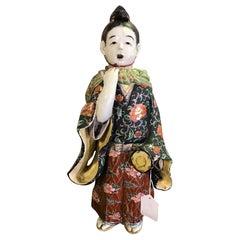 Japanese Exquisite Large Kutani Ware Porcelain Figure of Boy Late 1800s Meiji