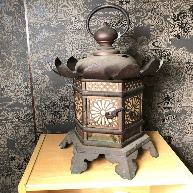 Japanese Extraordinary Antique Temple Kiku Lantern 250 Yrs Old, Triple Signed 10