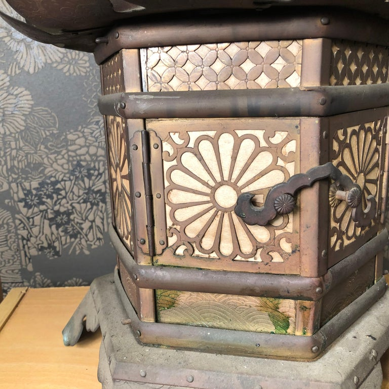 18th Century Japanese Extraordinary Antique Temple Kiku Lantern 250 Yrs Old, Triple Signed