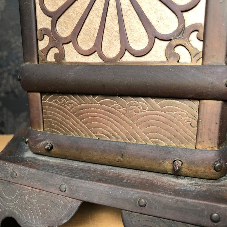 Japanese Extraordinary Antique Temple Kiku Lantern 250 Yrs Old, Triple Signed 1