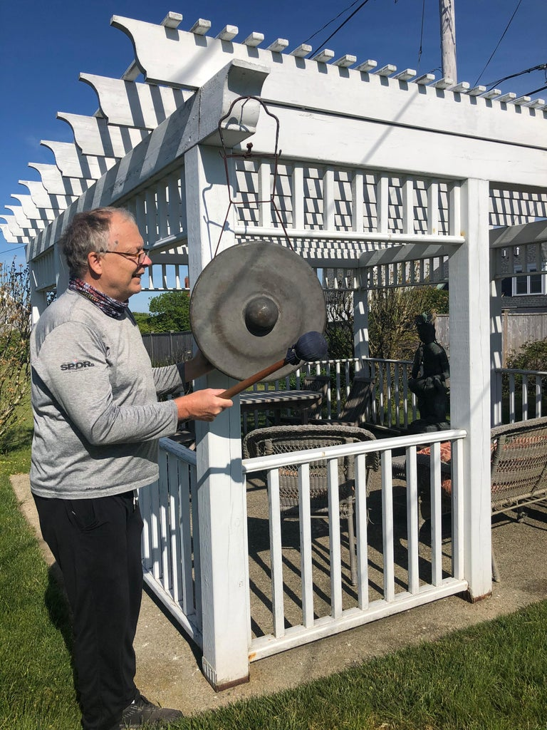 No ordinary antique gong- Impressively rare art. Extra oversized bronze.  Found in Japan, this unusual extra 10.5 inch thick bronze gong is the first one we have seen.  It was found in Japan and comes from a very old collection of bells formed
