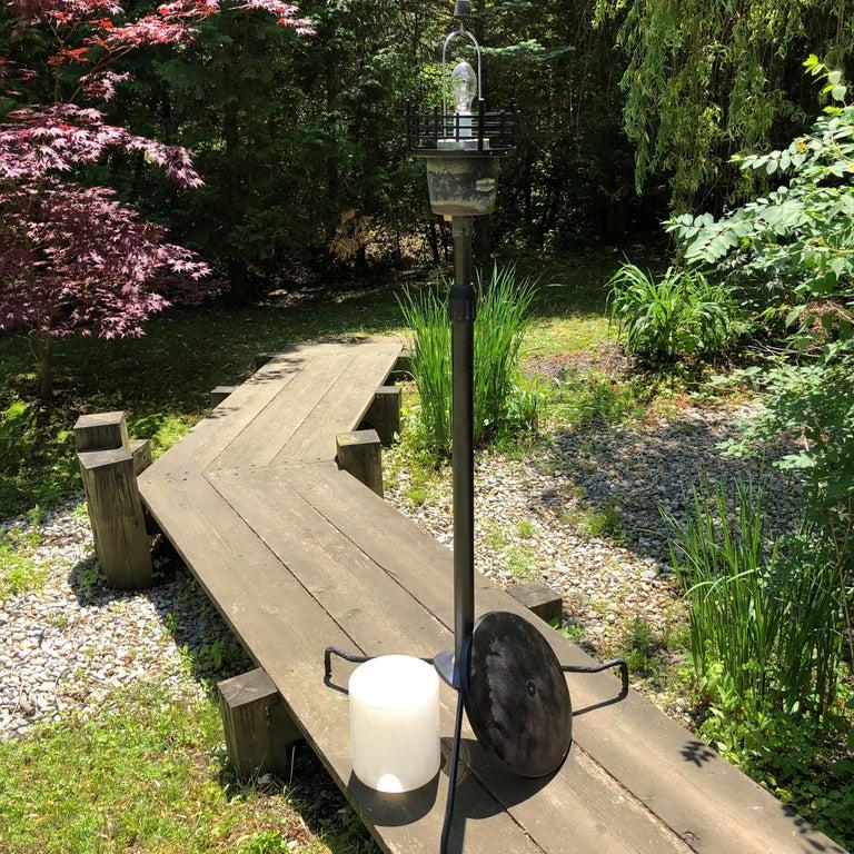 Japanese Extraordinary Tall Garden Lamp Light Fixture, 1950s Midcentury Prairie For Sale 3