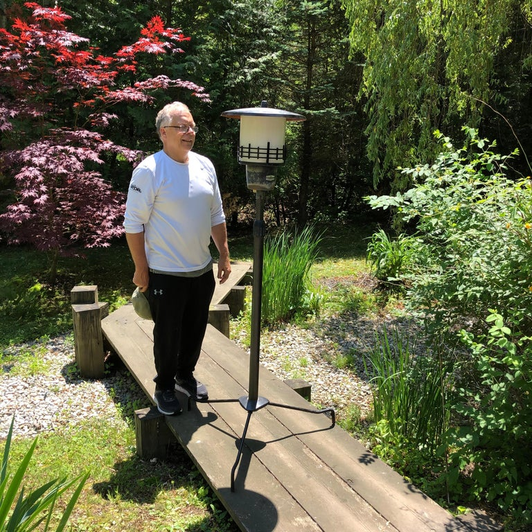 Rare Garden Find from Our Recent Japanese Acquisitions Travels  In the manner of Frank Lloyd Wright and the Prairie School.   Japan, a handsome and tall Mid-Century Modern bronze metal garden lamp. This 69