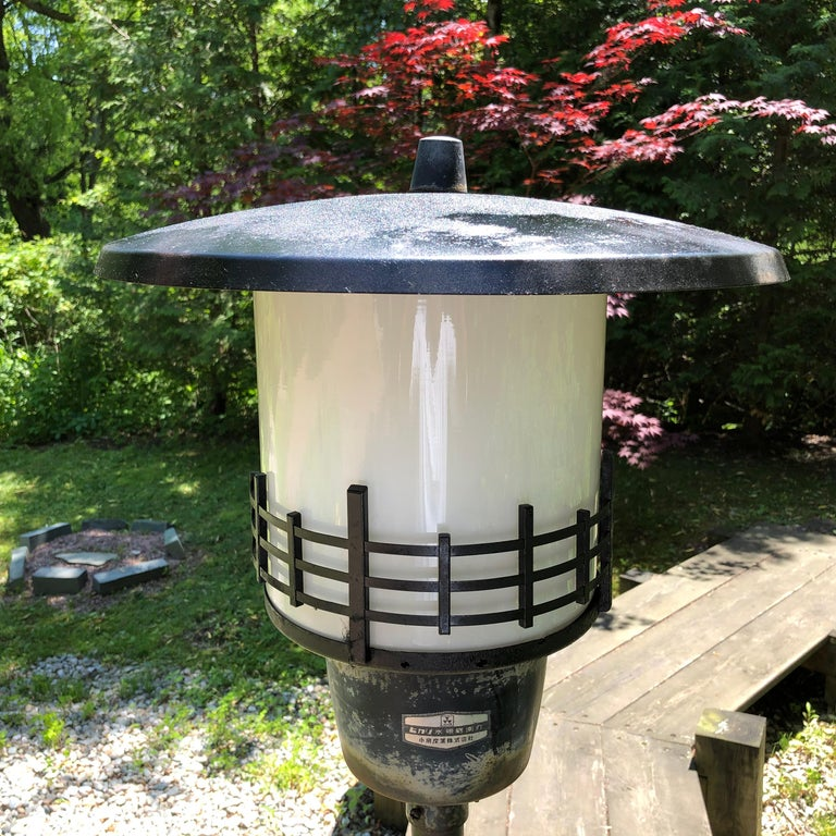 Showa Japanese Extraordinary Tall Garden Lamp Light Fixture, 1950s Midcentury Prairie For Sale