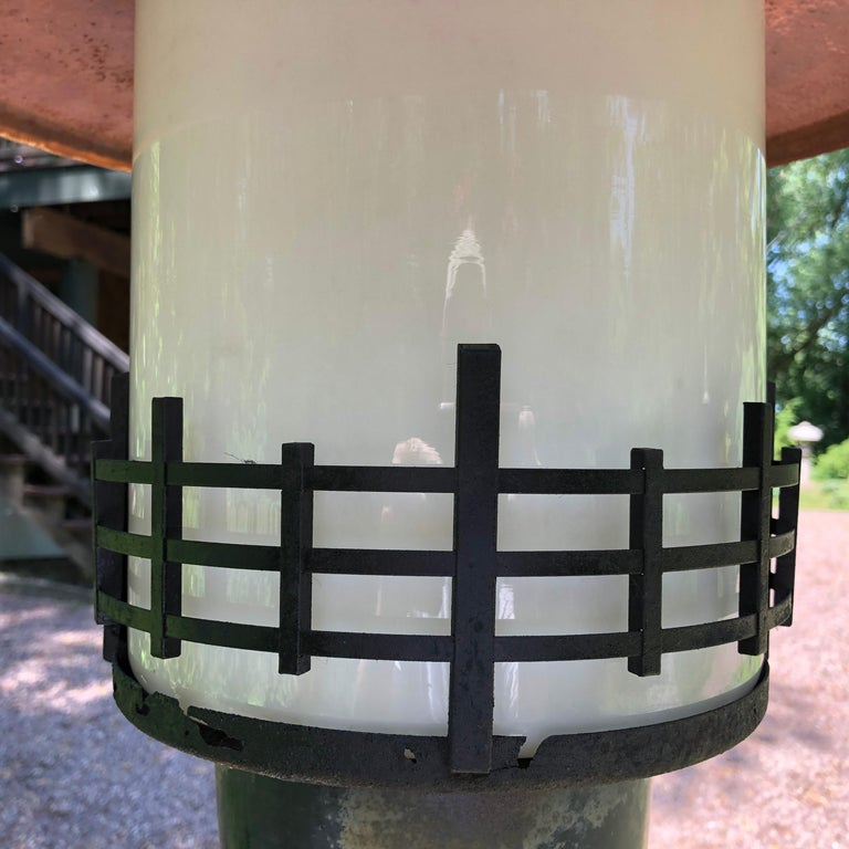 Hand-Crafted Japanese Extraordinary Tall Garden Lamp Light Fixture, 1950s Midcentury Prairie For Sale