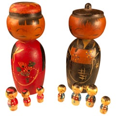 "Japanese Family Nine Old ""Kokeshi Dolls"" Famous Bobble Heads and Children"