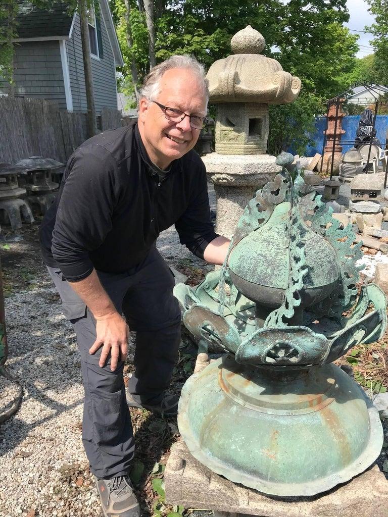 Edo Japanese Fine 250 Year Old Cast Bronze Garden Ornament Exquisite Details, 31