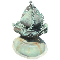 Japanese Fine 250 Year Old Cast Bronze Garden Ornament Exquisite Details, 31""