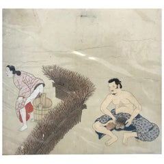 "Japanese Fine and Early ""Shunga"" Tosa School Erotic Humor Painting, circa 1700"