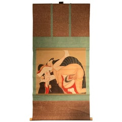 "Japanese Fine and Rare ""Shunga"" Hanging Scroll, Signed and Boxed"