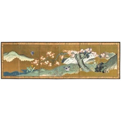 """Japanese Fine Antique Blue and Gold """"Bird & Flowers"""" Hand-Painted Screen"""