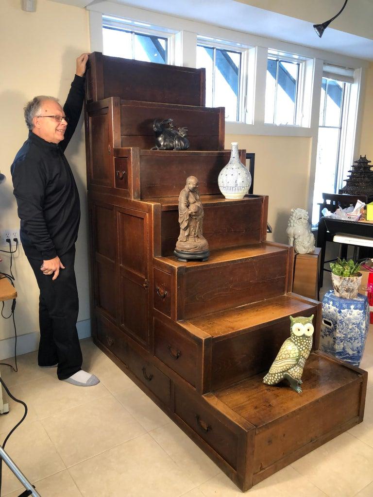 An antique 6-step cabinet