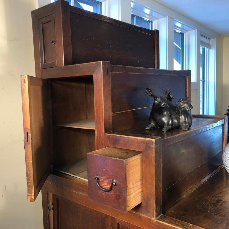 Iron Japanese Fine Antique Cabinet Step Tansu, Meiji Period, 1870s-1890s, Fab Storage For Sale