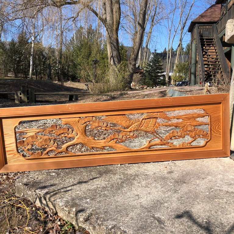 Japan, a fine hand carved wooden screen