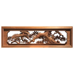 "Japanese Fine Antique Hand Carved ""Flying Crane & Trees"" Screen"