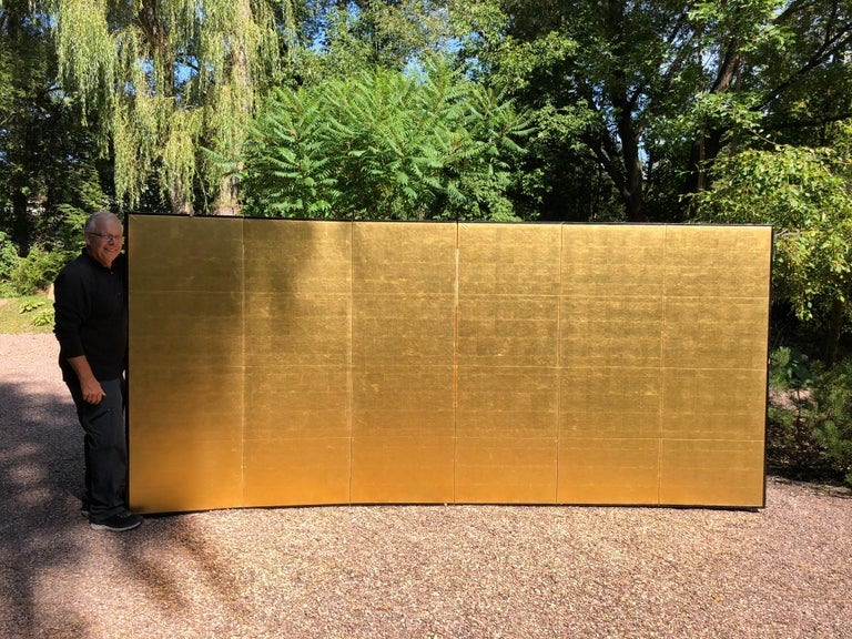 From our recent Japanese Acquisition Travels  Fashioned by hand in stunning gold leaf .  Japan, a fine six-panel screen byobu carefully crafted by a professional artisan with hand applied gold leaf. This attractive screen dates to the Meiji period,