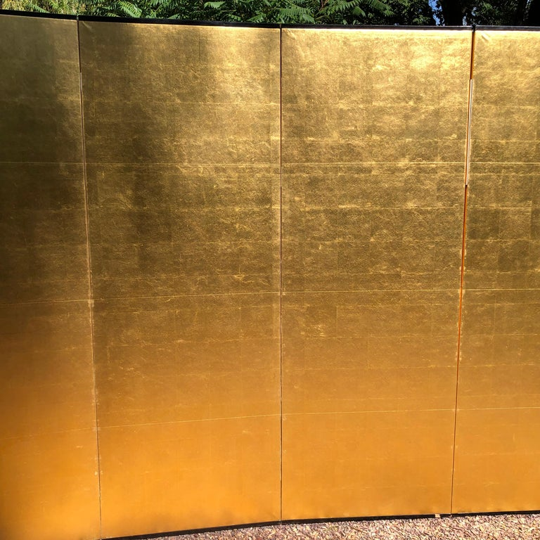 Hand-Painted Japanese Fine Antique Stunning Gold Leaf Screen