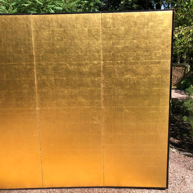 Japanese Fine Antique Stunning Gold Leaf Screen In Good Condition In Shelburne, VT