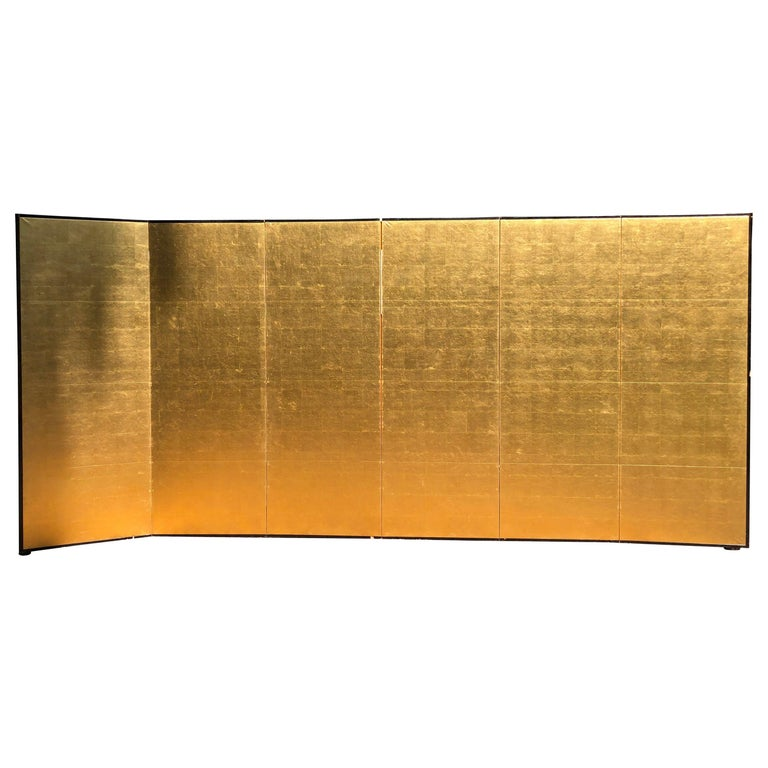 Japanese Fine Antique Stunning Gold Leaf Screen