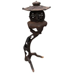 "Japanese Antique  Garden ""Tree Lantern"" With Orchids Bamboo & Birds"