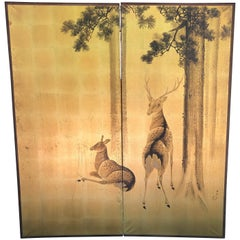 "Japanese Fine Antique ""Two Deer"" Screen, Smaller 2 Panel Byobu"