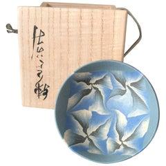 "Japanese Fine Artist ""BLUE PETALS TEA SAKE CUP""  Hand-Built Hand Glazed, Ogata"