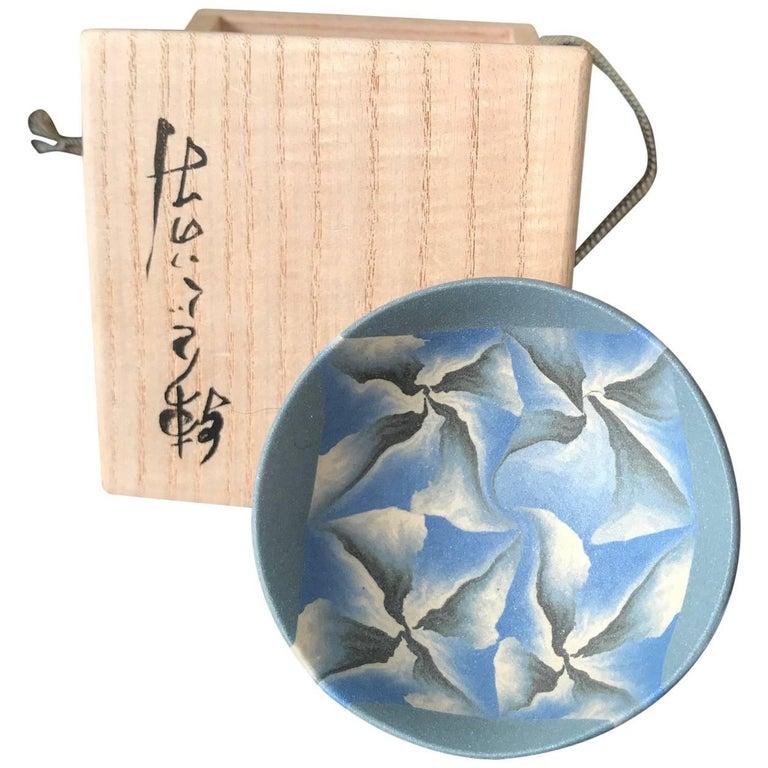 """Japanese Fine Artist """"BLUE PETALS TEA SAKE CUP""""  Hand-Built Hand Glazed, Ogata For Sale"""
