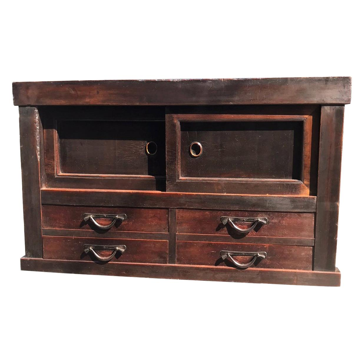 Japanese Fine Arts Crafts Antique Handcrafted Wood Tansu Cabinet