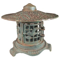 "Japanese Fine ""Birds Bonsei & Flowers"" Flower Garden Lantern"
