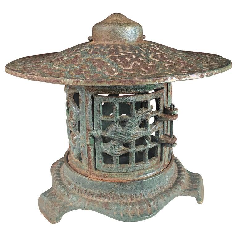 """Japanese Fine """"Birds Bonsei & Flowers"""" Flower Garden Lantern For Sale"""