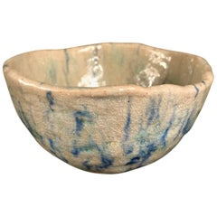 "Japanese Fine Blue ""Impressionist"" Tea Bowl, Hand-Built and Hand Glazed"
