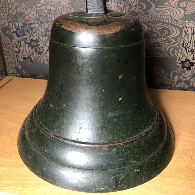 Japanese Fine Bronze Ships Bell 1924, Fine Patina, Bold Sound & Signed For Sale 3