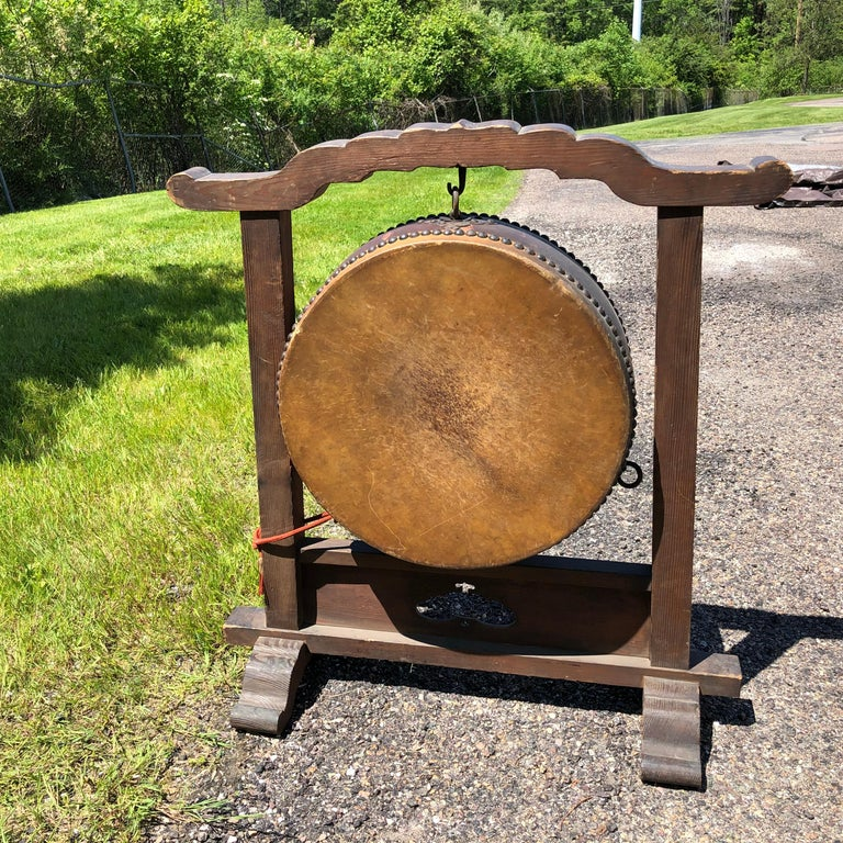 Japanese Fine Gong Drum On Stand, 19th Century Immediately Playable For Sale 5