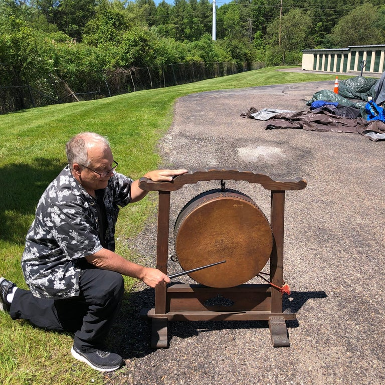Japanese Fine Gong Drum On Stand, 19th Century Immediately Playable For Sale 6