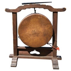 Japanese Fine Gong Drum On Stand, 19th Century Immediately Playable