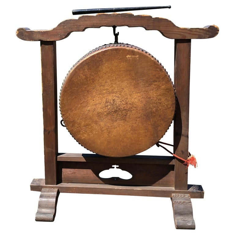 Japanese Fine Gong Drum On Stand, 19th Century Immediately Playable For Sale