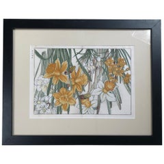 "Japanese Fine Framed Woodblock Antique Flower Print ""Daffodils"", Vibrant Colors"