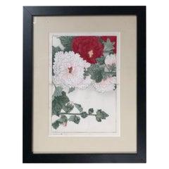 "Japanese Fine Framed Woodblock Antique Flower Print ""Hollyhock"", Vibrant Colors"