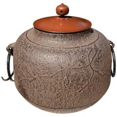 "Japanese Fine Hand Cast Garden ""Pretty Pine Trees"" Tea Pot Chagama Immed Usable"