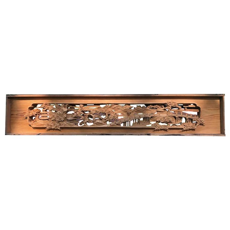 """Japanese Fine Handcrafted """"Panoramic Garden and Long Bridge"""" Screen For Sale"""