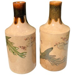 "Japanese Fine Hand Painted Sake Bottles ""Bird Of Paradise"" Collector Boxed, Pair"