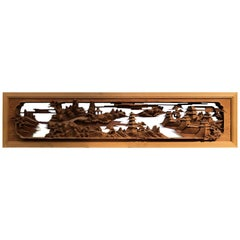 "Japanese Fine Handcrafted ""Panoramic Garden Mountains & Villas"" Screen"