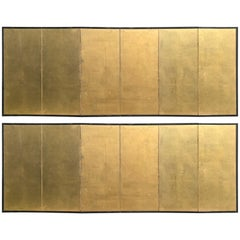 Japanese Fine Pair of Antique Gold Leaf Screens, Perfect for Small Spaces