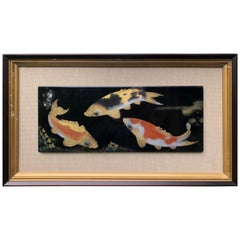 Japanese Fine Rich Black & Gold KOI Framed Lacquer Panel Signed Collectors Dream