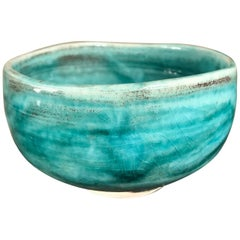 "Japanese Fine Rich Sea Blue ""Impressionist"" Tea Bowl, Hand-Built and Hand Glazed"
