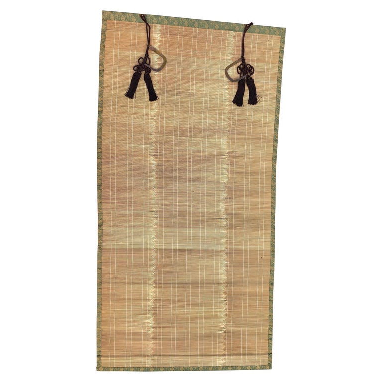 "Japanese Fine Set Four Silk and Bamboo Blinds or Screens ""Sudare"" Lovely Quality For Sale"