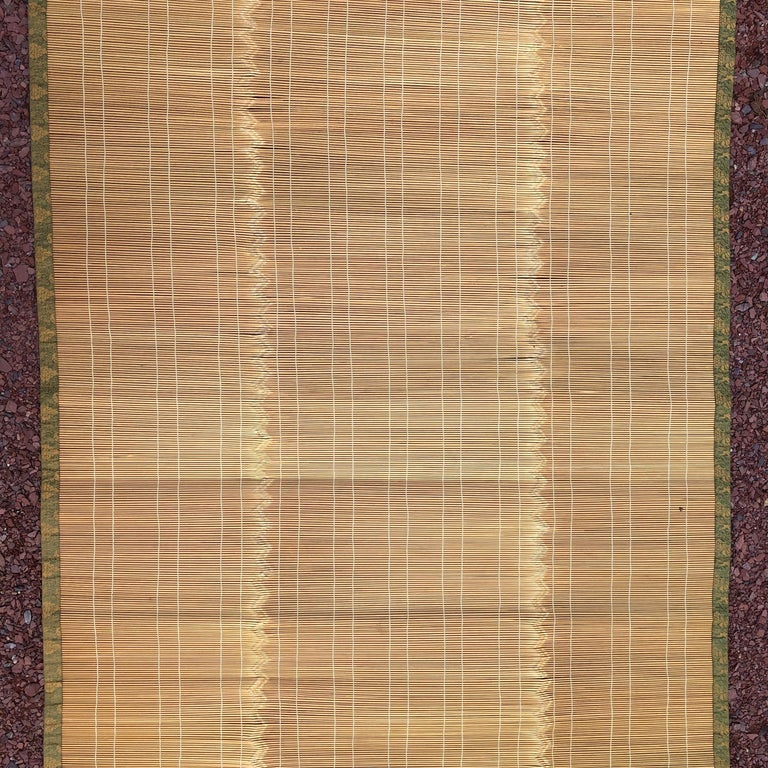 Hand-Crafted Japanese Fine Set Four Silk and Bamboo Blinds or Screens
