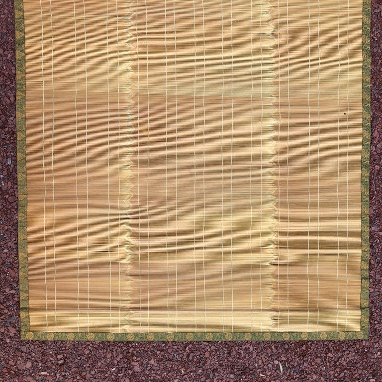 Japanese Fine Set Four Silk and Bamboo Blinds or Screens